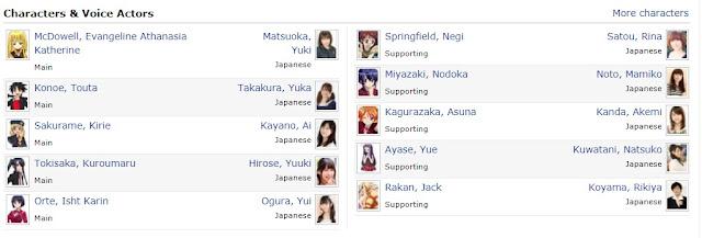Character And Voice Actors Uq Holder: Mahou sensei Negima 2