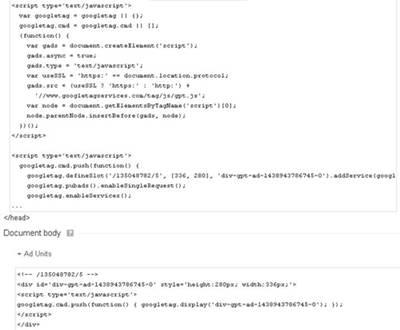 kode html iklan dfp