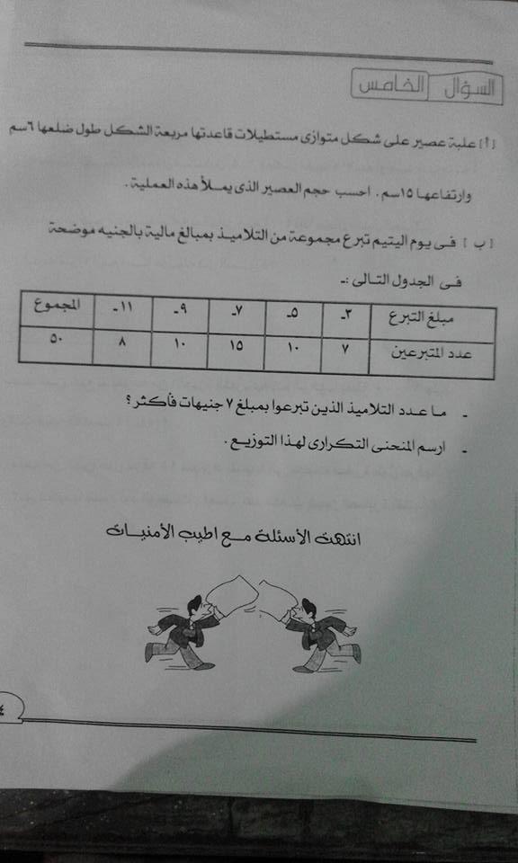 إمتحان رياضة الصف السادس الابتدائى