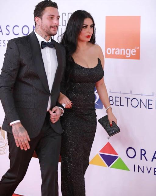 أحمد الفيشاوي وزوجته في ختام مهرجان الجونه