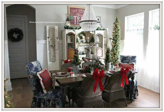 French Country Farmhouse Christmas Dining Room-Pencil Tree- Parson Chairs-Plais Pillows-From My Front Porch To Yours