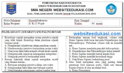 Soal PAT/UKK Sejarah Indonesia Kelas 10 K13 Tahun 2019