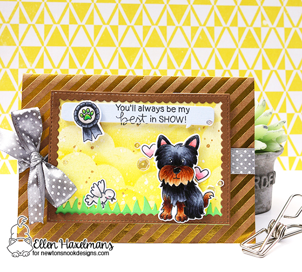 Best in Show Dog card by Ellen Haxelmans | Terrific Terriers | Dog Stamp Set by Newton's Nook Designs #newtonsnook