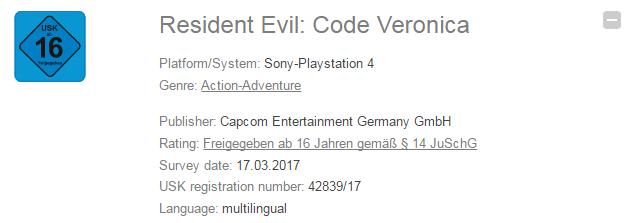 Se filtra registro de Resident Evil Code Veronica en PS4