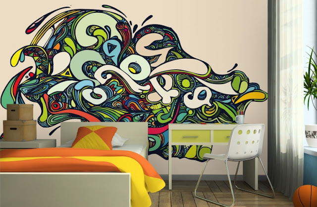 Psychedelic-Graffiti-tapet ungdomsrum