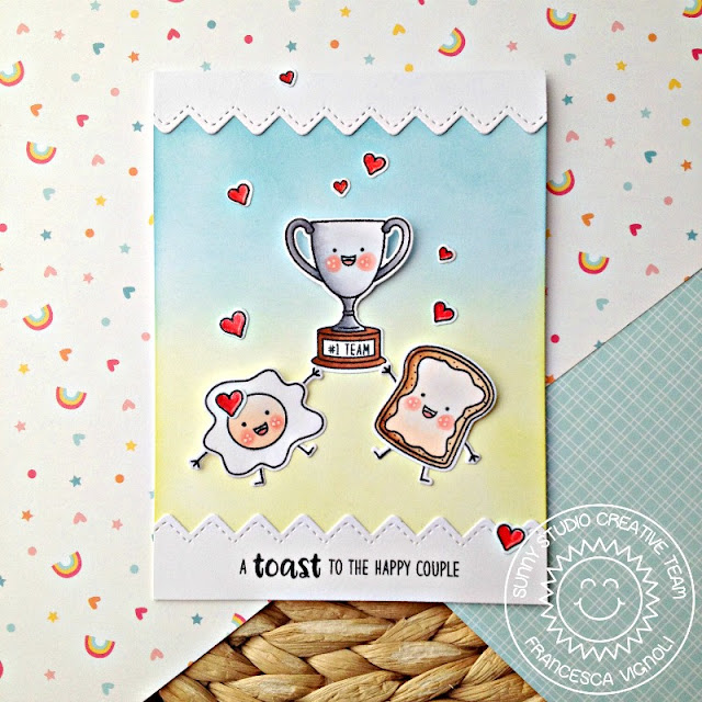 Sunny Studio Stamps: Ric Rac Border Dies Breakfast Puns Love Themed Card by Franci Vignoli