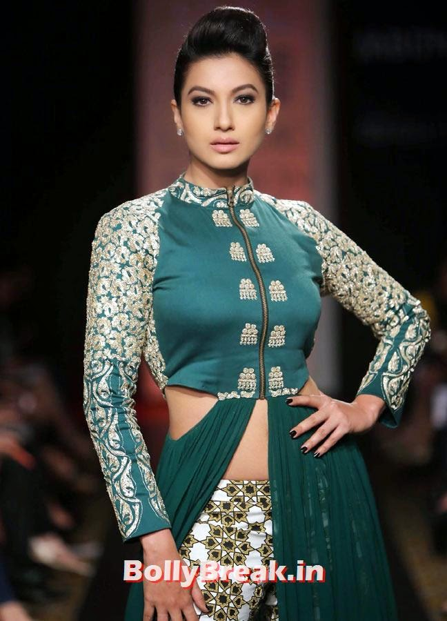 Gauhar Khan was the showstopper for Paras and Sonam Modi's collection., Gauhar Khan Lakme Fashion Week Pics in Green Dress