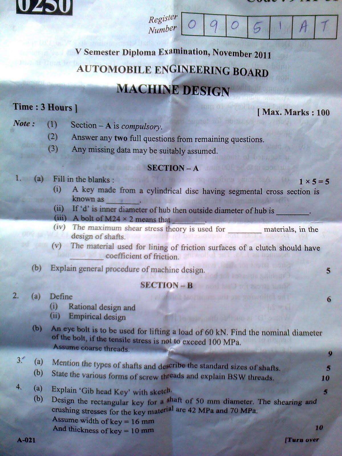 Machine designer sample resume