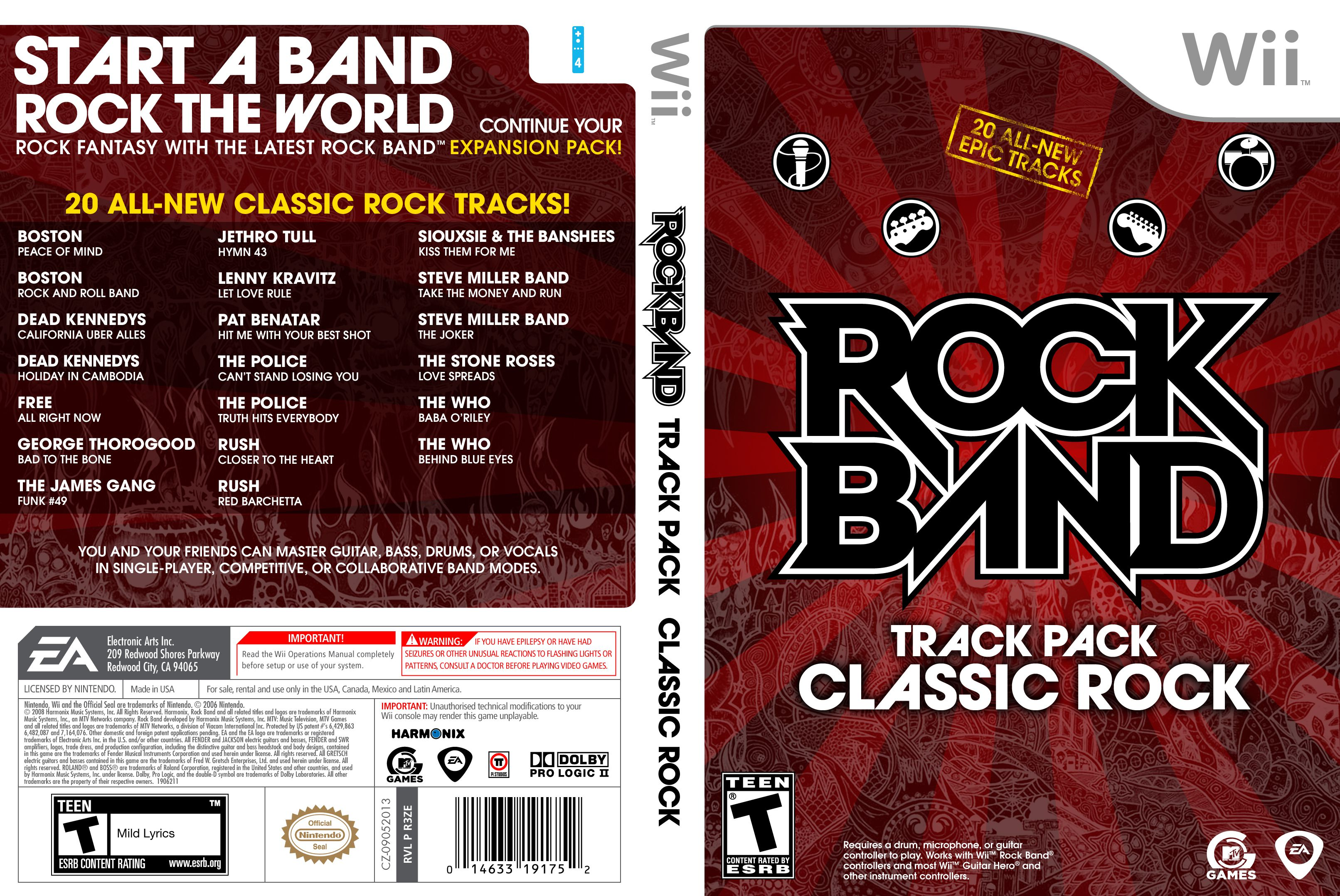 Capa Rock Band Track Pack Classic Rock Wii