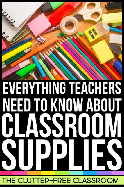 A teacher supplies list of classroom essentials and must haves is only the start! This blog post covers school supply organization, storage, how to save money on classroom supplies and more. Learn how to manage communal supplies and what is better than school supply labels.