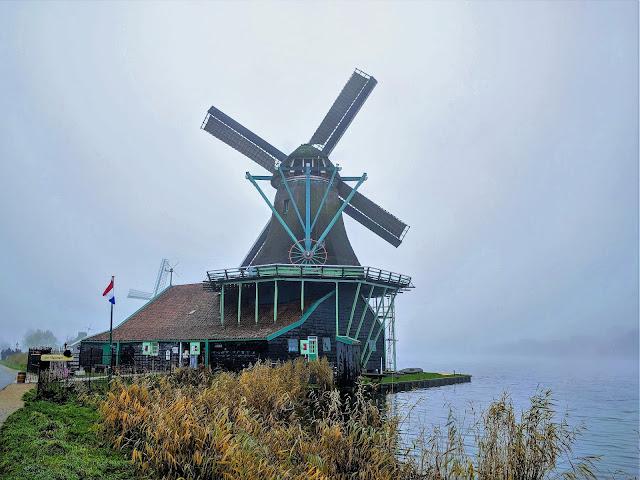 Zaanse Schans windmill near the river