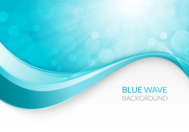 Blue Wave Background Vector Graphic  Decorative Futuristic Technology  Abstract Creative