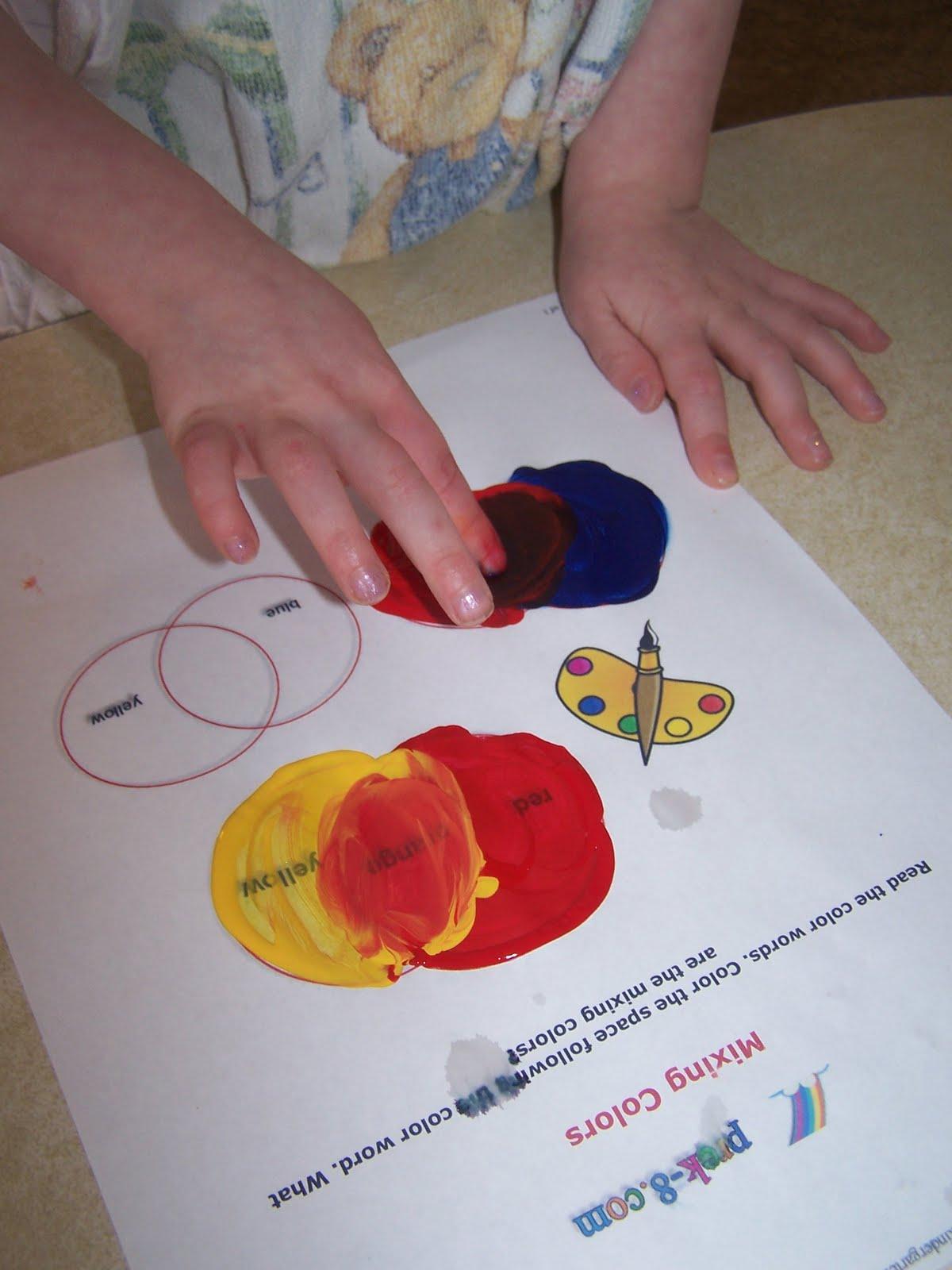 Adventures In Home Pre Schooling Mixing Colors