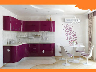 Feminine pink kitchen with dining space