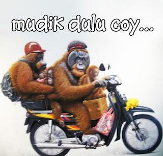 gambar lucu mudik naik motor