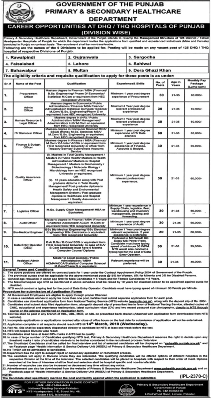 Jobs In Primary And Secondary Healthcare Department Feb 2018 NTS