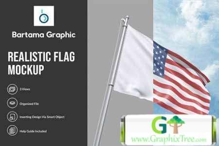 CreativeMarket Realistic Flag Mockup 4654986