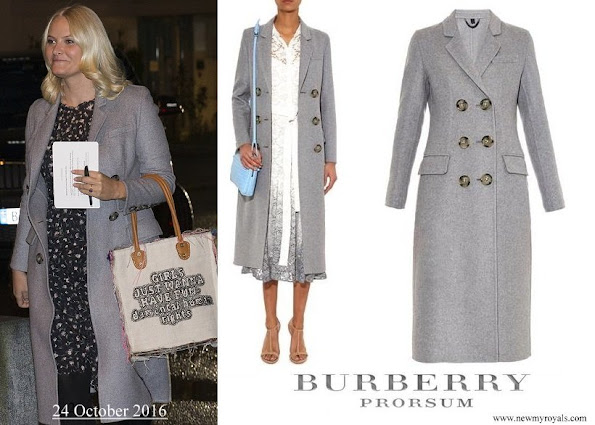 Crown Princess Mette Marit wore BURBERRY Prorsum Double breasted cashmere coat