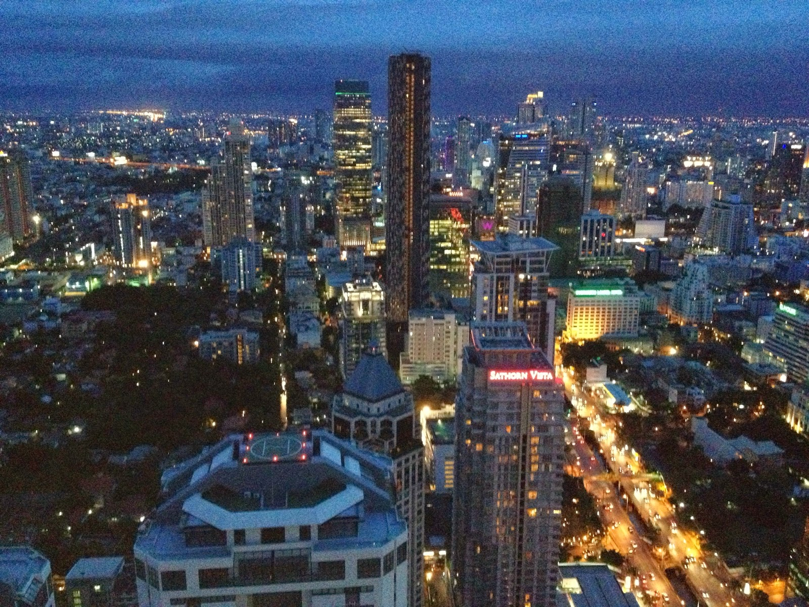 Bangkok - Night time view from the Banyan Tree Hotel rooftop