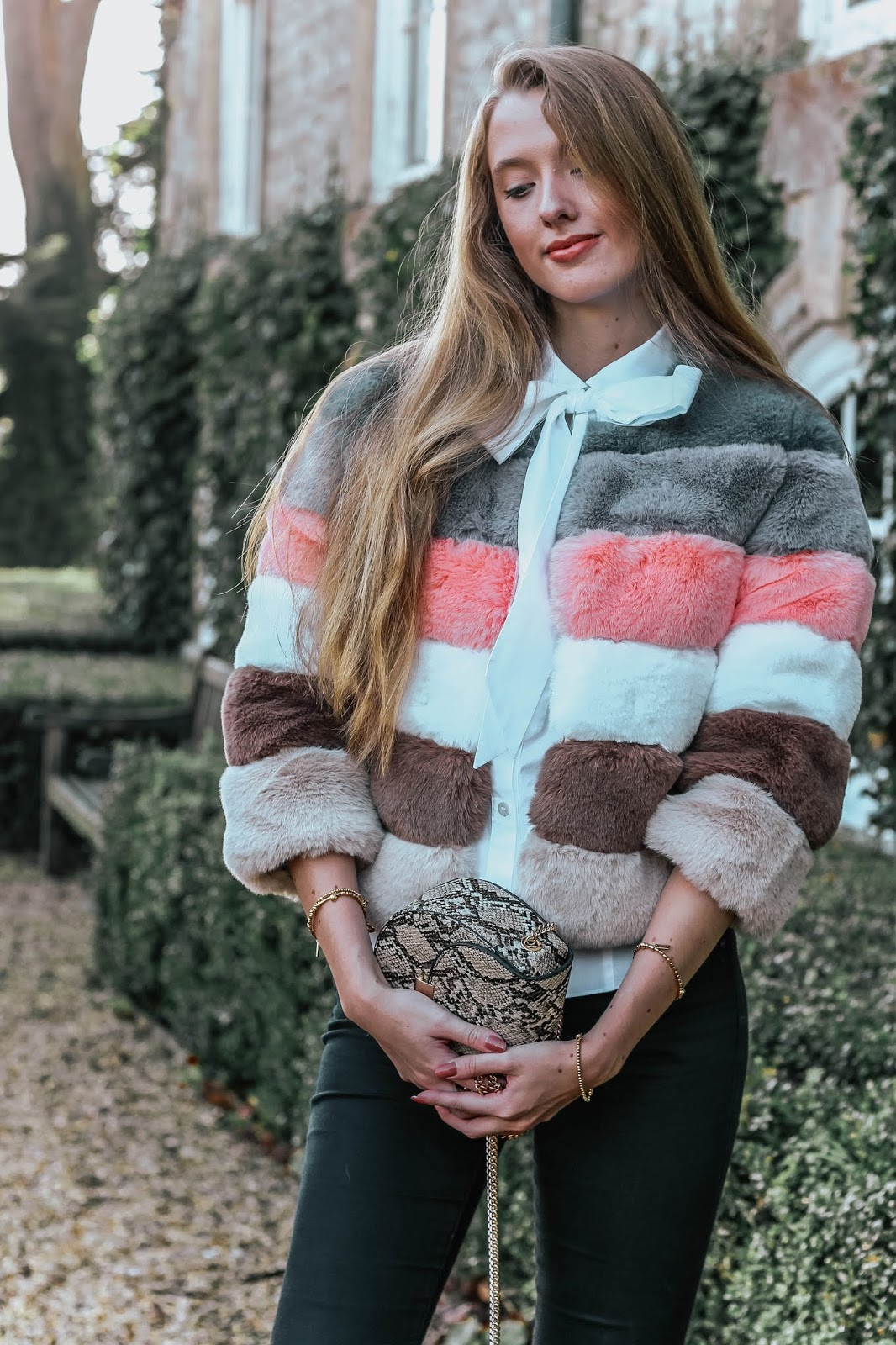 Bandits London Amy Stripe Faux Fur Jacket
