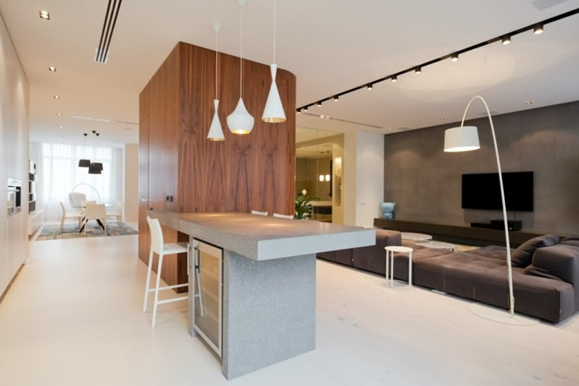 Kitchen island in Minimalist modern apartment in Moscow