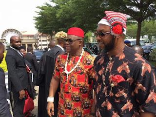 Femi Fani-Kayode and Osita Chidoka Rock Igbo Traditional Attire For Nnamdi Kanu's Trial (Photos)
