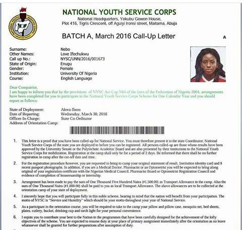 Nysc Batch B Stream  Call Up Letter