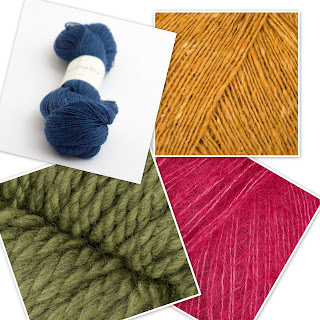 Four types of yarn in colours that match ultra violet dark blue dark green pink and golden yellow