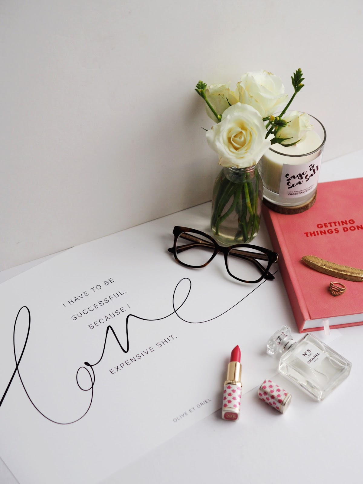 Lifestyle | Defining Success; Olive et Oriel Poster, Lipstick, Pink Planner, Perfume, Flowers, Dior Glasses