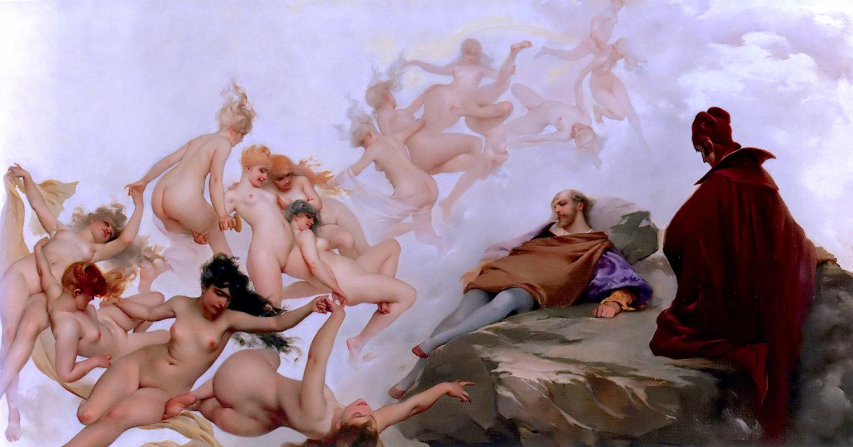Orgía de mujeres desnudas en un sueño de Fausto