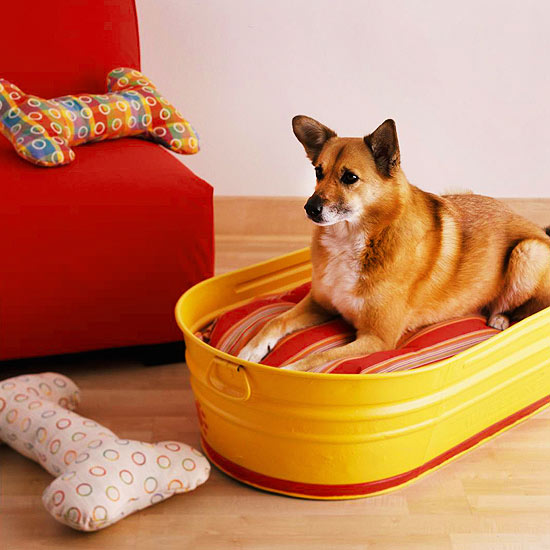 This bright yellow washing bin makes a great DIY dog bed that you can pick up and pack for anywhere