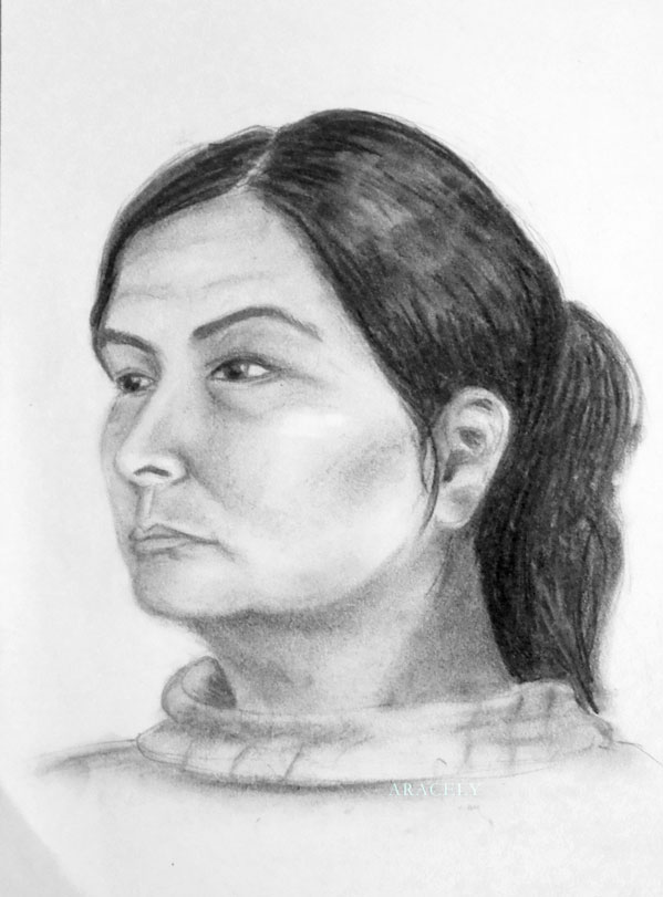 retrato femenino mujer carbon vegetal