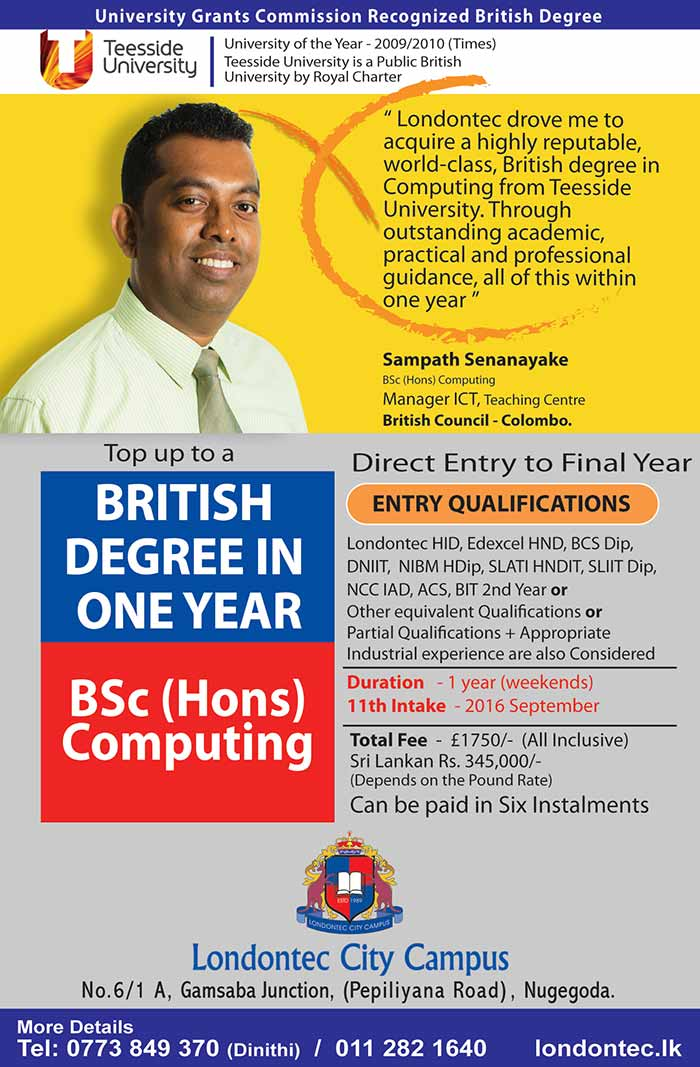 Our degrees offered Teesside University are not external degrees and have been moderated by the Quality Assurance Agency of the United Kingdom, which is the foremost body in setting and monitoring standards for education in the United Kingdom.  Another proof to the high standards we maintain is our degree alumni. Our graduates have a 100% employment rate. Most of our past students today serve at high managerial positions in well established organizations. You could speak to many of them upon contacting the institute.