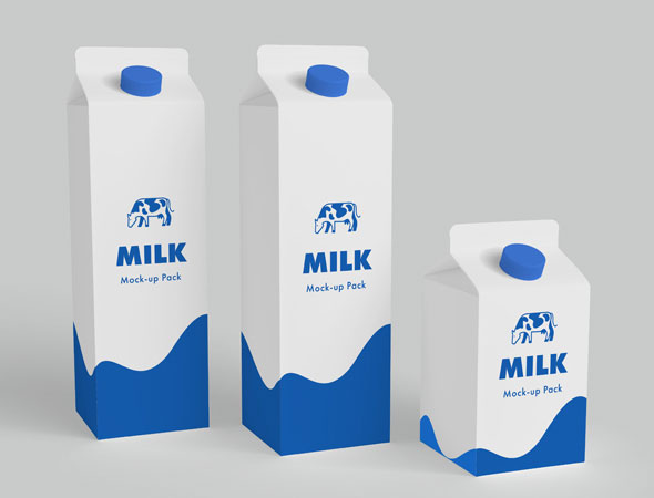 Milk Carton Boxes MockUp