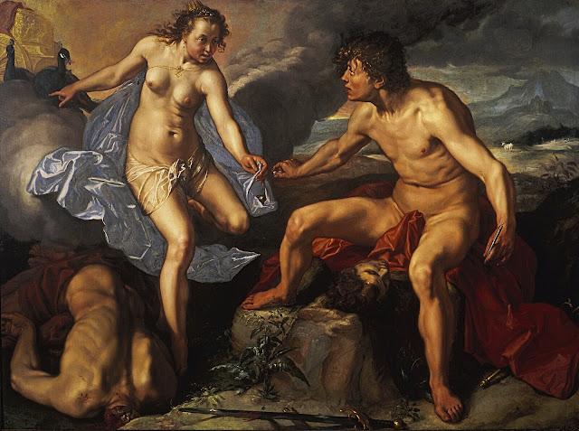 Hendrick Goltzius: Giunone riceve gli occhi di Argo da Mercurio