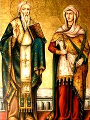 En la imagen San Cipriano con el libro cerradoy Santa Justina con la Cruz