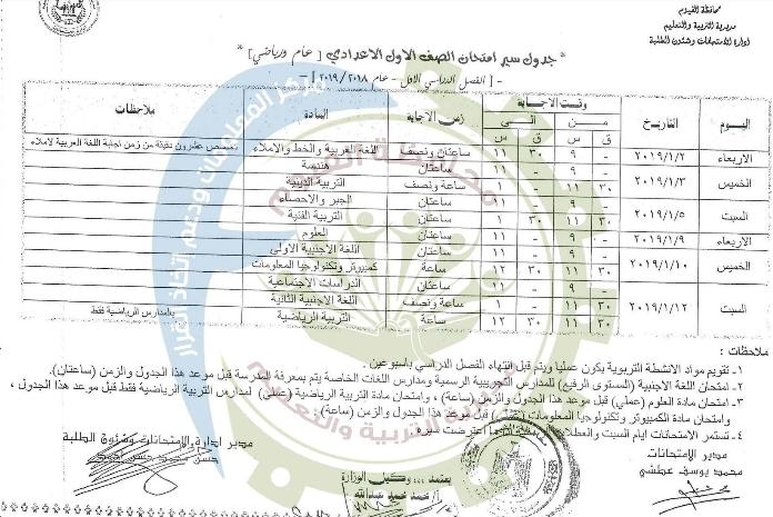 جدول امتحانات الصف الأول الإعدادي الترم الأول 2019 محافظة الفيوم