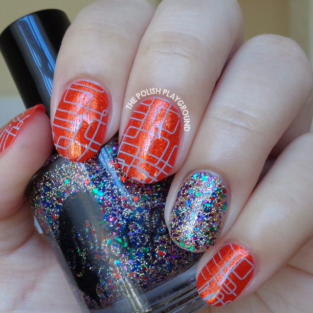 Golden Red Orange with Blue Lines Stamping Nail Art