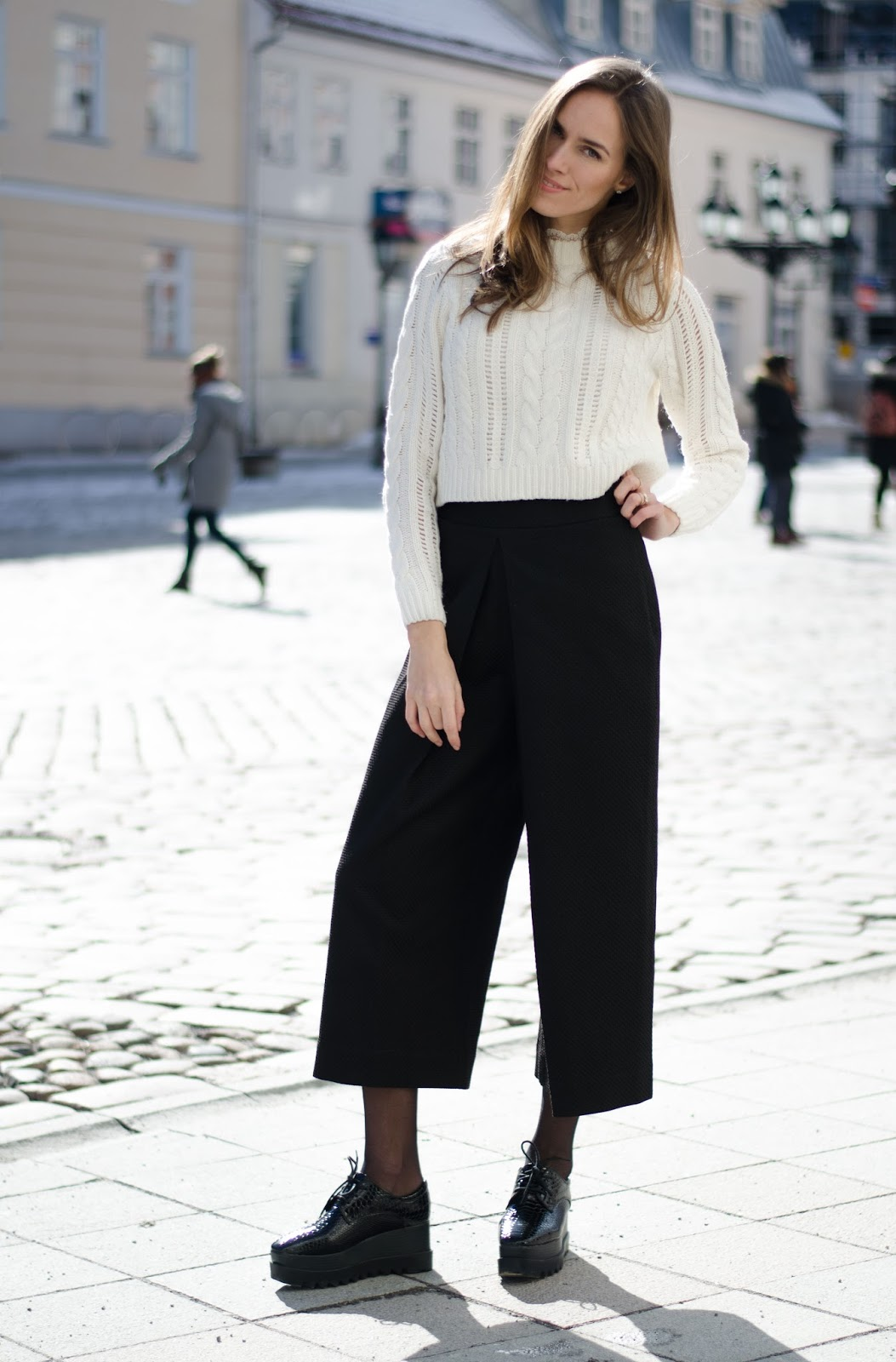 kristjaana mere cropped sweater culottes platform shoes winter style