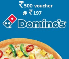 Nearbuy Loot Offer - Dominos Rs 500 voucher at Rs 197