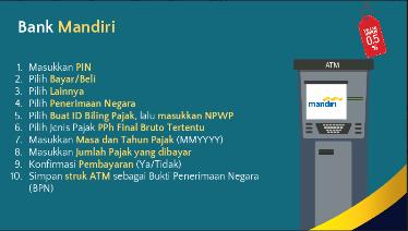cara bayar pajak pph umkm via atm bank mandiri tarif khusus pph setengah persen