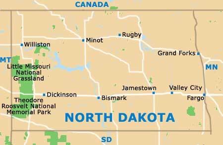 Map Of North Dakota State Map Of USA - State map of north dakota