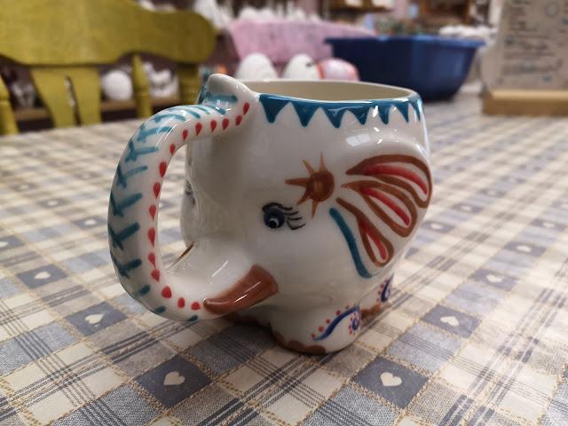 painted elephant mug