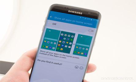 Advance Feuture التي سوف تجدها في قسم Galaxy Labs وهي موجودة في الهاتف حيث أنّه هناك خيار يقوم بحذف درج التطبيق ويقوم بوضع التطبيقات في الواجهة الرئيسية أي بطريقة مُشابهة لواجهة هواتف هواوي وiOS