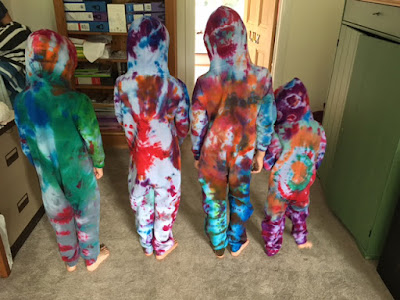 Colourful tye-dyed cotton onesies