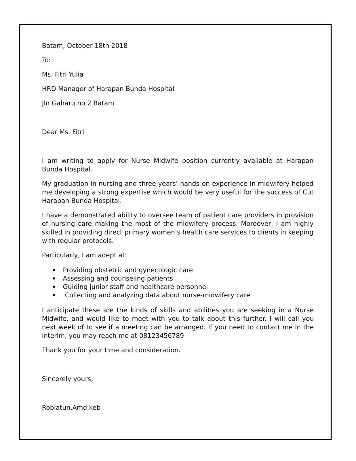 Contoh surat lamaran kerja di rumah sakit dalam bahasa Inggris