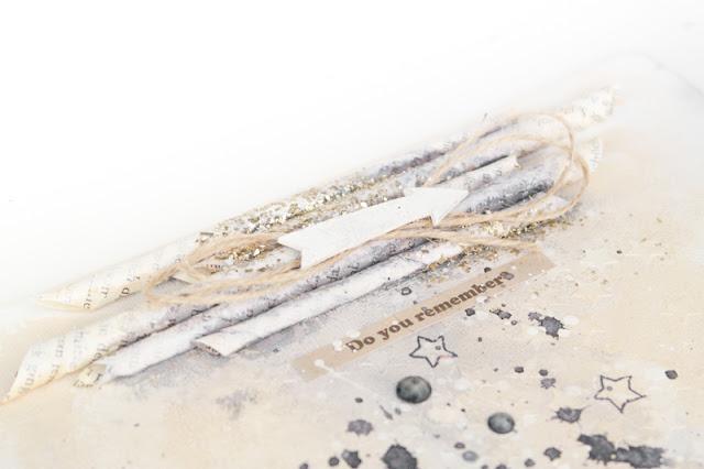 @olgakolov #canvas #straws #mixedmedia #glass_glitter #melissa_frences #pfeil #sterne