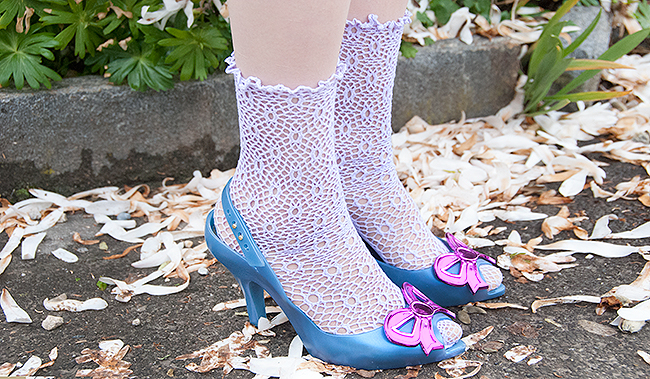Vivienne Westwood x Melissa shoes, jelly high heels, net socks