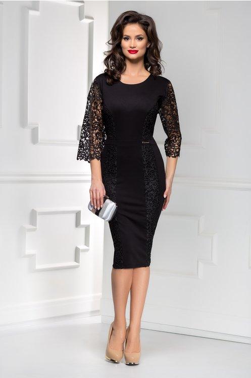 Rochie midi neagra eleganta de ocazie cu maneci din dantela model 2019