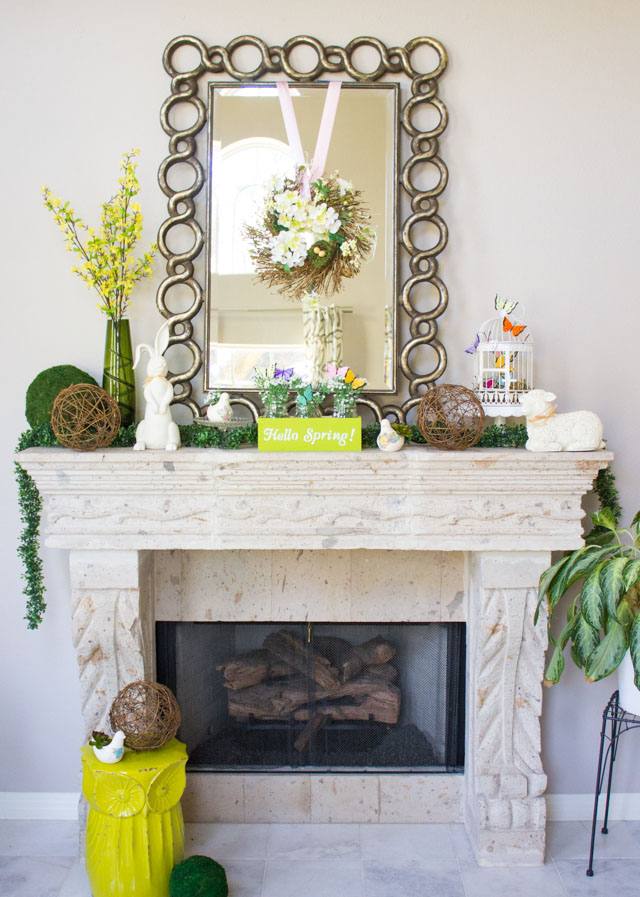 Bring spring indoors with this pretty spring mantel filled with simple craft ideas!
